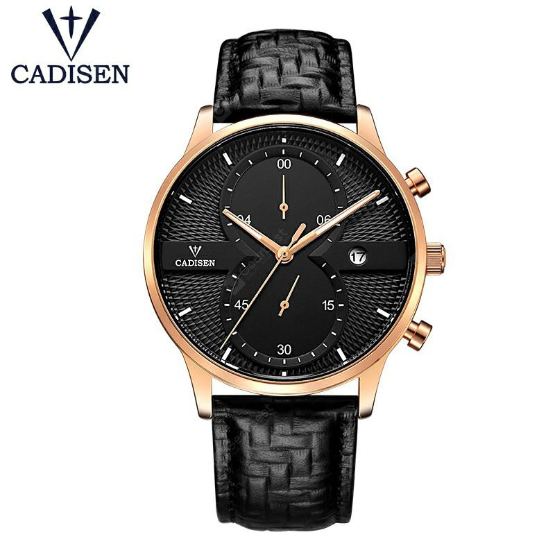 CADISEN Mens Watches Top Brand Luxury Fashion Business Quartz Watch Men Sport Leather Waterproof