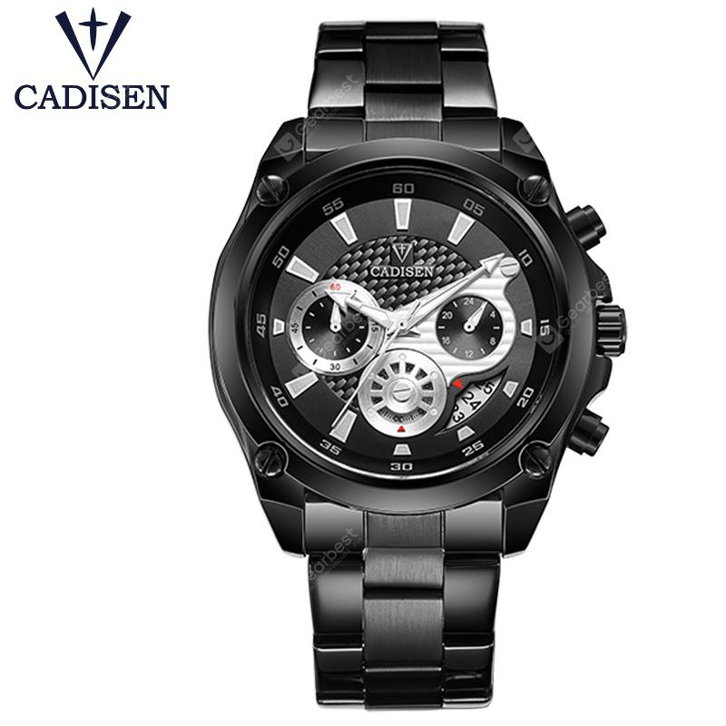 CADISEN Top Brand Luxury Mens Watch Full Steel Sport Watches Fashion Quartz Military Wrist Watch