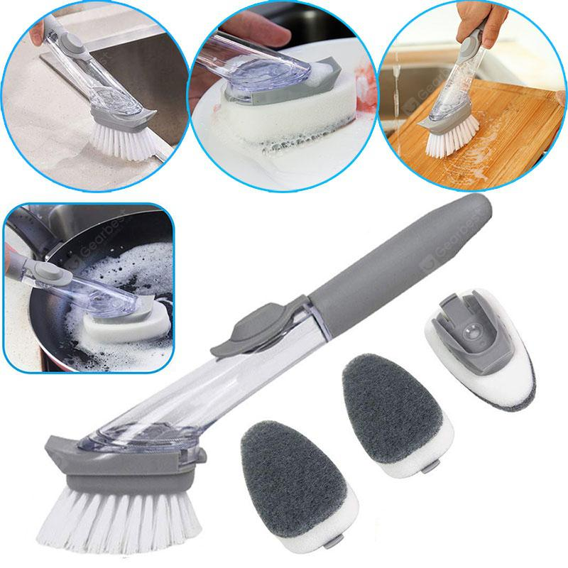 Kitchen Automatic Liquid Filling Long Handle Brush Pot Artifact Dish Scrub Cleaning Brush With - Light Grey China