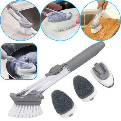 Kitchen Automatic Liquid Filling Long Handle Brush Pot Artifact Dish Scrub Cleaning Brush With