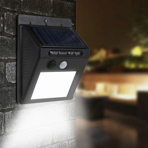 Solar Power 20 LED PIR Motion Sensor Wall Light Waterproof Outdoor porch Yard Garden Security Lamp - Black