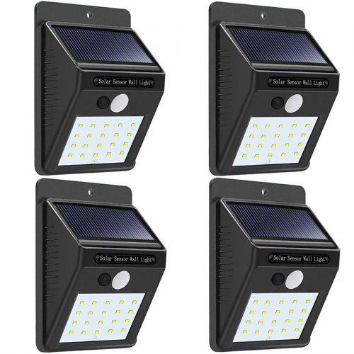 Solar Lights Wireless Waterproof Motion Sensor Outdoor Light for Patio Deck Yard Garden - 4 Pack Black