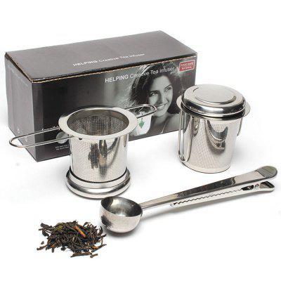 3Pcs 1set Tea Infuser  304 Stainless Steel Tea Filter With Double Handles For Hanging On