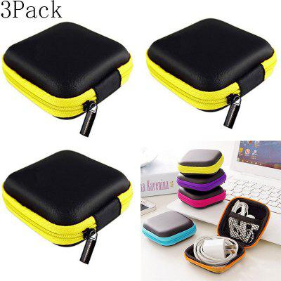 3Pack Portable Data Cable Storage Bag Earphone Wire Case for Headphone Line Organizer Storage Box