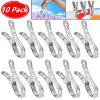 10 Pcs Stainless Steel Medium Wind-Proof Clothes And Socks Clip Is Clamped
