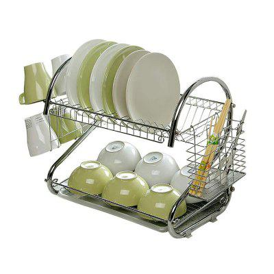 S-Shaped Dish Rack Set 2-Tier Stainless Plate Dish Cutlery Cup Rack With Tray Steel Drain Bowl Rack