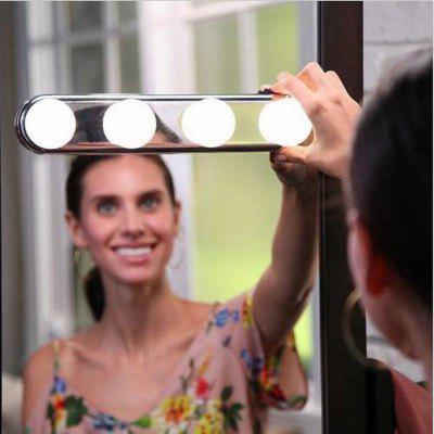 4 LED Makeup Lamp Wall Light Kit For Dressing Table Vanity Mirror Light Suction Cup Battery Power