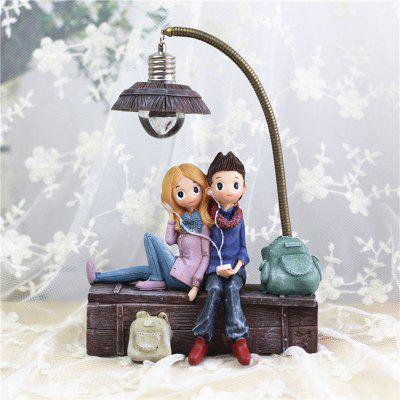 Creative Boys And Girls Night Lamp  Ornaments With LED Light Resin Crafts For Home Decor
