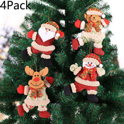 4Pack Christmas Tree Pendant Old Man Snowman Deer Small Pendant Plush Linen Doll Bell Ornament