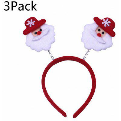 3Pack Christmas Headband Christmas Hair Clasp Clip Cartoon Old Snowman Antlers Headwear