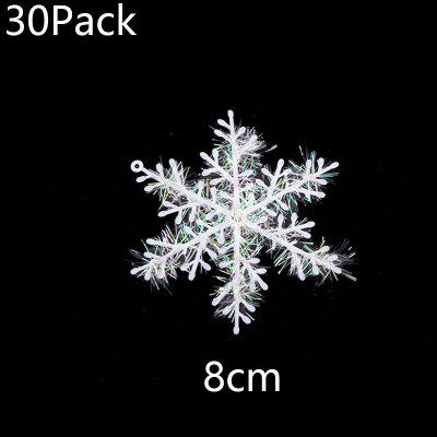 30Pack Christmas Tree White Snowflake Ornaments Christmas Party Decoration Artificial Snow