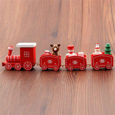 Christmas Train Painted Wood Christmas Decoration for Home With Santa bear  Kid Toys Gift