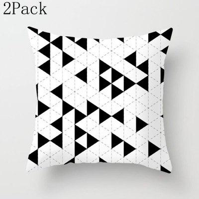 2Pack Geometric Cushion Cover Black and White Striped Dotted Mesh Triangle Art Cushion Cover