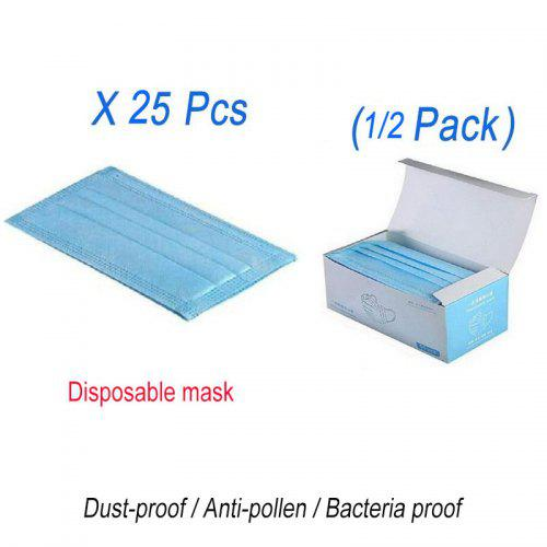 25 50 100PCS Antibacterial Dustproof Non-Woven Hanging Ear Blue Disposable Mask - 25PCS