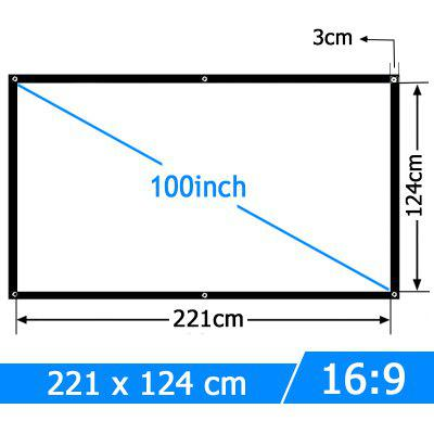 AUN 100 inch Portable Projector Screen White cloth material support C80 Home theater