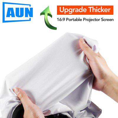 AUN Upgrade 100 120 133 inch Thicker Projector Screen Optional Portable for Home theater
