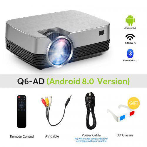 AUN New MINI Projector Q6-AD 1280x720P Android 8.0 LED Proyector for 1080P Home Cinema