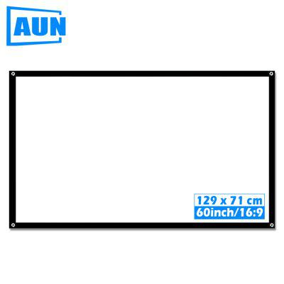 AUN 60 inch Portable Projector Screen Plastic Screen for Home theater support LED Projector S60