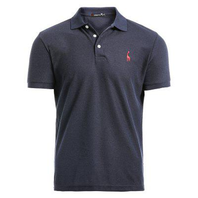 Deer Embroidery Polos Men Casual Mens T-shirts Cotton Mens Polos Shirts