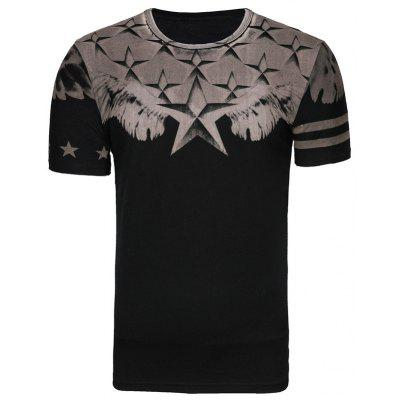 Star Print T-shirt Men Slim Fit Mens Tops Tees Short Sleeve Cotton T Shirt Men