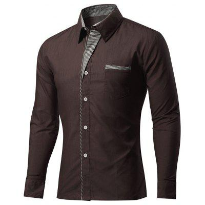Brand Quality 8 Colors Mens Shirt Solid Slim Fit Long Sleeve Shirts Casual Patchwork Shirt Men