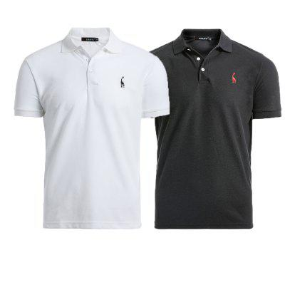 2PCS New Men Casual Embroidered Solid Color Cotton Polos Shirt Men