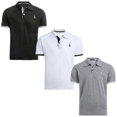 3 PCS Cotton T-Shirt  2019 New Tops Tees Slim Fit Short Sleeve Turn-down Collar T Shirts Men