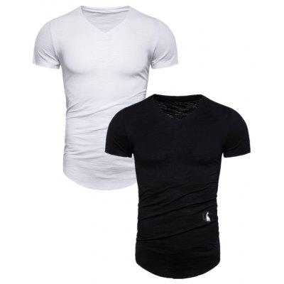 2PCS Brand Quality Male T Shirt Solid V-neck Short Sleeve T-Shirts Men