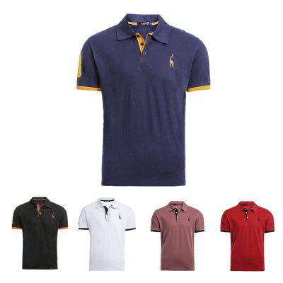 5 PCS Set Deer Embroidery Polos Men Casual Mens T-shirts Cotton Mens Polos Shirts