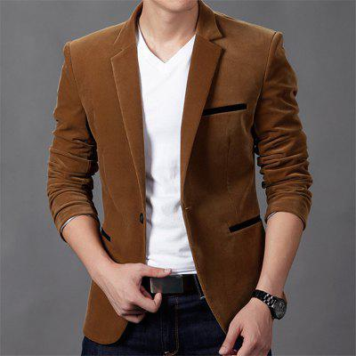 2019 New Autumn Fashion Trend Casual Corduroy Solid Color Button Slim Suit