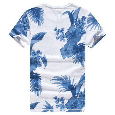 2019 Summer New Fashion Casual Trend Slim Cotton Floral Plant Flower Short-sleeved T-shirt Male