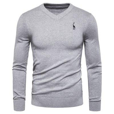 2019 Autumn New Fashion Casual Trend Slim Round Neck Solid Color Long-sleeved Sweater Men