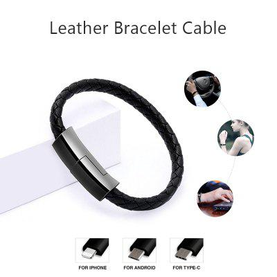 LEEHUR Outdoor Portable Leather USB Cable for iPhone Android Type C
