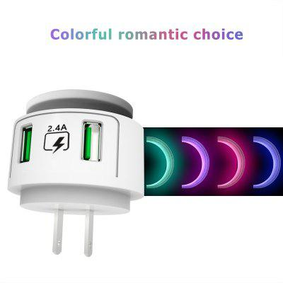 LEEHUR 2 Port USB  Charger Night Light With Led Lamp Brightness Adjustable Phone Charger Adapter