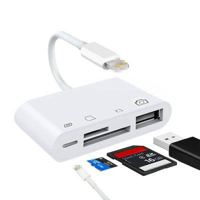 LEEHUR 4 in 1 Card Reader Adapter to SD TF USB Charge port for iPhone Type C OTG Android