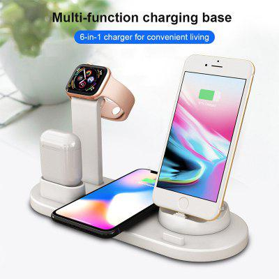 LEEHUR 10w Qi Wireless Charger Stand 6 In 1 for Apple Watch Airpods Iphone Type C Android Phone
