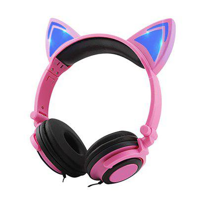 LEEHUR Cat Ear Headphones Wired 3.5mm Earphone Foldable Gaming LED Flashing Headset for kids Adult