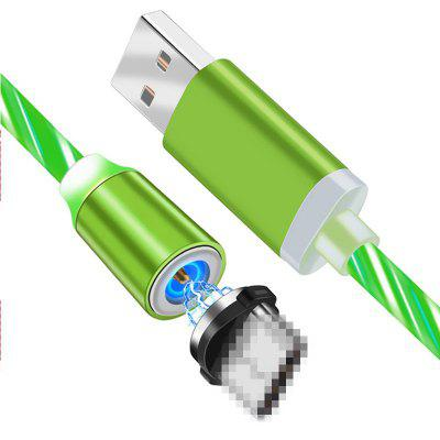 LEEHUR Magnetic Flowing Light Phone Cable Streamer Micro USB Type-c Fast Charging Cable for Iphone