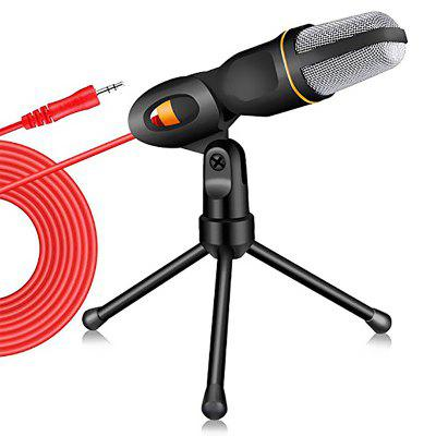 LEEHUR 3.5mm Computer Microphone With Holder Stand Clip For PC Chatting Singing Karaoke Laptop