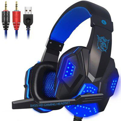 LEEHUR 3.5mm LED Light Gaming Headset Earphone Wired Gamer Headphone with Mic for Computer PC Game