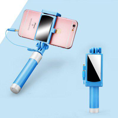 LEEHUR 3.5mm Phone Selfie Stick with Mirror for Rear Camera Selfie Extend Wired Selfie Stick