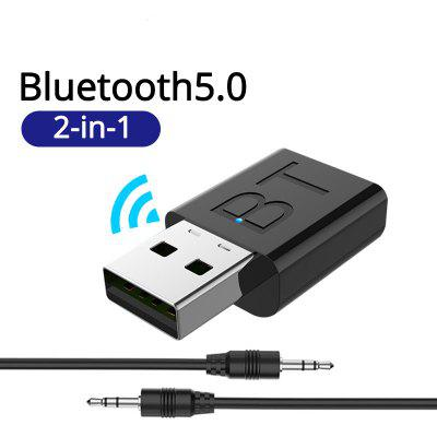 LEEHUR USB Bluetooth 5.0 Transmitter Receiver Stereo 3.5mm AUX For TV PC Headphones Home Stereo Car ditmo dm 4900 foldable wired 3 5mm plug stereo headset headphones w microphone for iphone 5 blue