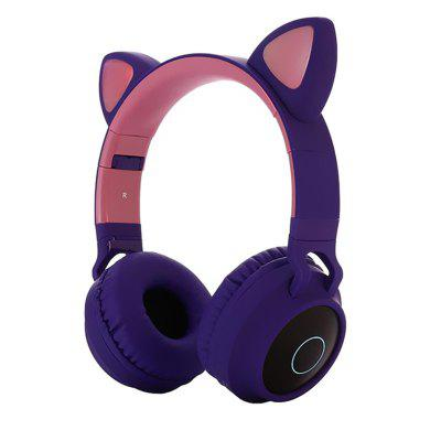 Leehur Cat Ear Bluetooth 5.0 Headphones LED Light Wireless Headphone HIFI Stereo Earphone With Bass