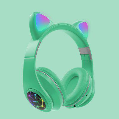 Фото - LEEHUR Cute Cat Headphone Bluetooth Wireless Headset With LED Muisc Stereo Earphone for Children Girls usb game headphone t2 sound stereo gaming headphones casque 7 1 surround stereo headset with led lights gamer mic