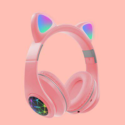 LEEHUR Cute Cat Headphone Bluetooth Wireless Headset With LED Muisc Stereo Earphone for Children Girls