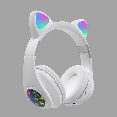 LEEHUR Cute Cat Headphone Bluetooth Wireless Headset With LED Muisc Stereo Earphone for Children Girls usb game headphone t2 sound stereo gaming headphones casque 7 1 surround stereo headset with led lights gamer mic