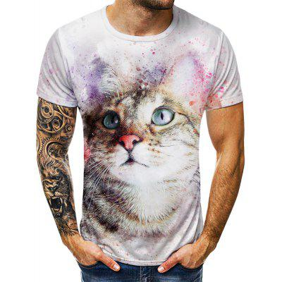 Summer Blue Eye Cat Digital Print Fashion T-shirt