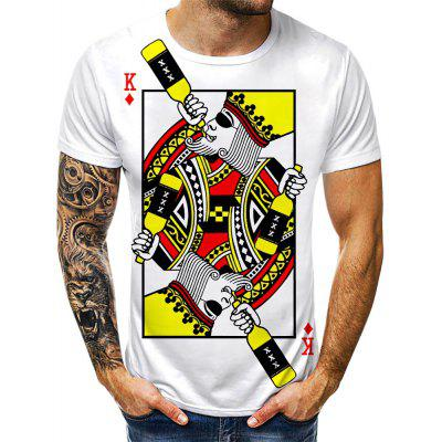 Men Casual 3D Creative Print Short Sleeves T-shirt