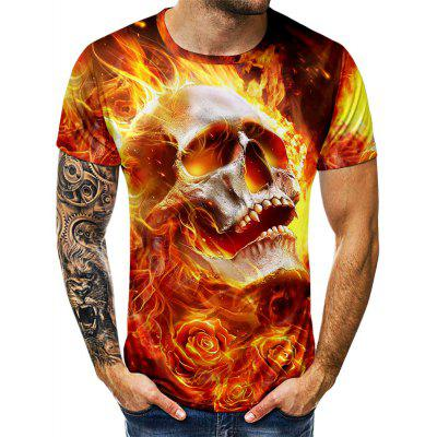 Skull Printed Short Sleeve Casual T-shirt