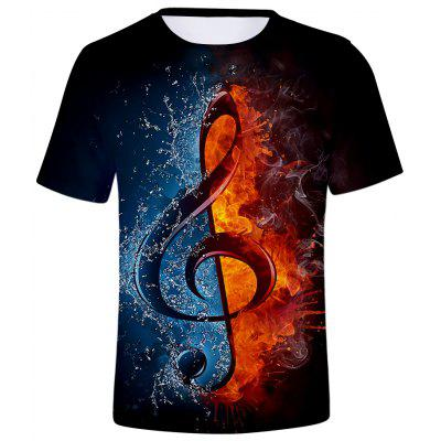 3D Summer Men Casual Musical Note Round Short Sleeve T-shirt